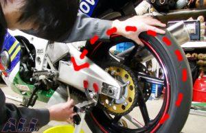 チェーン清掃 タイヤを回す 回転方向