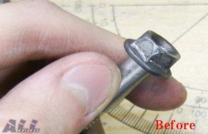 ホイール割締めボルト磨き